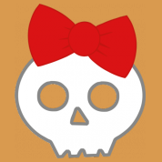 skull & red ribbon